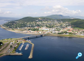 An aerial view of the town of Gaspé, Quebec.